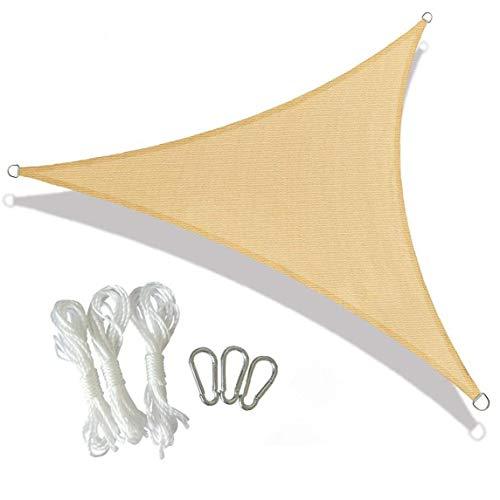 Kacniohen Anti-UV Sun Shade Sail 3x3x3m, Sun Sail Sunscreen Canopy UV Block Awning for Outdoor Patio Garden Backyard Lawn Pergola Decking Beige Triangular