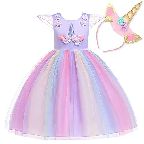 NNDOLL Fille Licorne Volants Fleurs Robe De Mariée Soirée Cosplay Lilas Princesse Robe 120 4-5 Ans