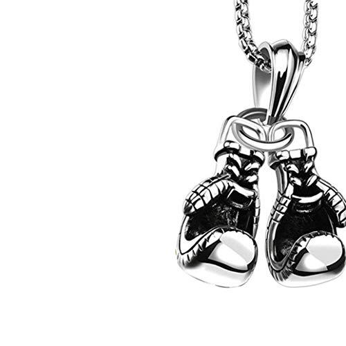 Ogquaton Premium Herren Punk Alloy Boxhandschuh Kette Anhänger Halskette (Silber) Praktisch