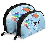 My Little Pony - Bolsa de maquillaje con forma de concha, bolsa de embrague portátil, multifunción, organizador para mujeres, viajes, impermeable, con cremallera, 2 unidades