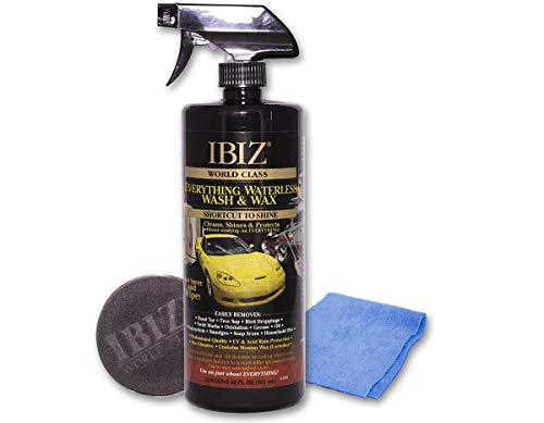 IBIZ Waterless Car Wash and Wax – Premium USA Made w/Carnauba Wax - Non-Abrasive Formula w/UV & Acid Rain Protection – Clean & Shine Your Car, SUV, Truck, Motorcycle, Boat & RV. 32 Fl Oz Best Value