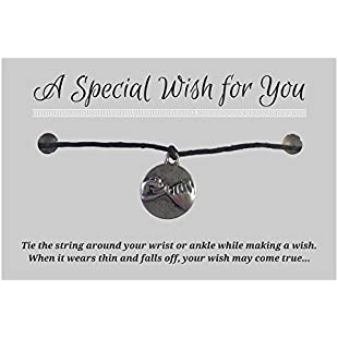 Pinky Promise Wish Bracelet - Black Hemp with Silver Tone Charm on Printed Card - Adjustable - Unisex:Marocannonce