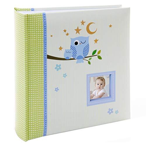 Kusso Kinder-Fotoalbum, Motiv: schlafende Eule, 200 Fotos à 10 x 15 cm, für Babys, Kleinkinder und Kinder, personalisierbar mit einem Lieblingsfoto