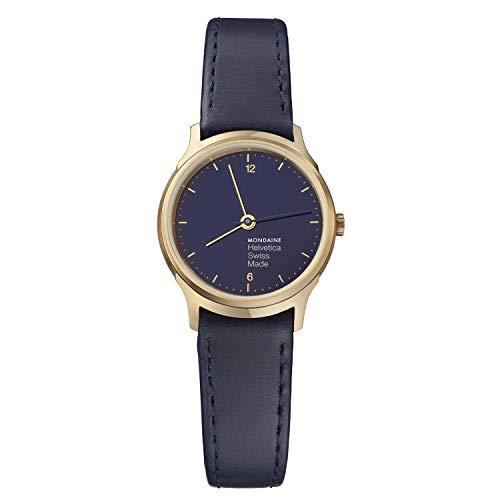 Mondaine Helvetica Light, Reloj de Cuero Azul Marino para Mujer, MH1.L1141.LD, 26 MM