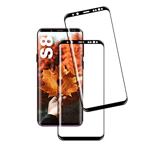 JingHuier Panzerglas Schutzfolie für Galaxy S8, [2 Stück] Hohe Qualität Gehärtetem Glass [HD Clear] [Blasenfrei] [9H Härte] [Anti-Kratzer] [Full Screen] Panzerglasfolie für Samsung Galaxy S8