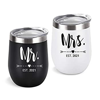 Gingprous EST 2021 Mr and Mrs Wine Tumbler Engagement Wedding Gift for Bride and Groom Newlyweds Couples Bride to Be Wife His and Her ,12 Oz Mr Mrs Gifts Stainless Steel Tumblers with Lid Set of 2