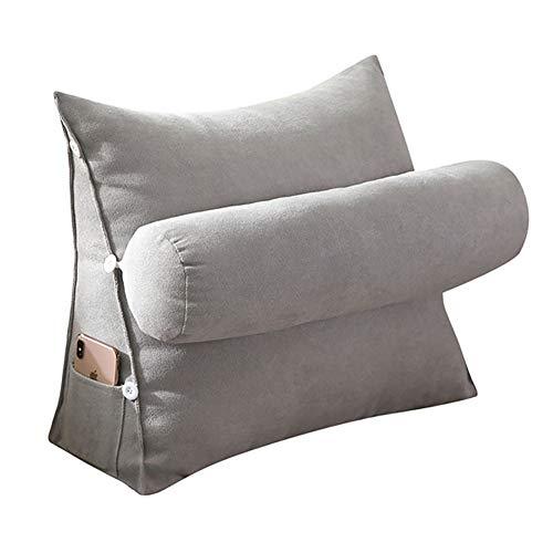 VERCART Kopfkissen Nackenstützkissen Dekokissen Lesekissen Rückenkissen für Lesen Couch Nackenrolle tv Kissen 60cm Grau