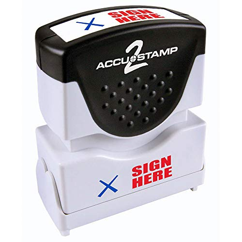 "ACCU-STAMP2 Message Stamp with Shutter, 2-Color, SIGN HERE, 1-5/8"" x 1/2"" Impression, Pre-Ink, Red and Blue Ink (035626)"