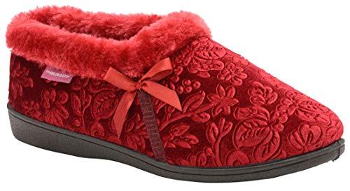Dunlop Gemma warme Damen Pantoffel - Hausschuhe - aus Samt mit Gummisohle - Burgundy - Gr. 38