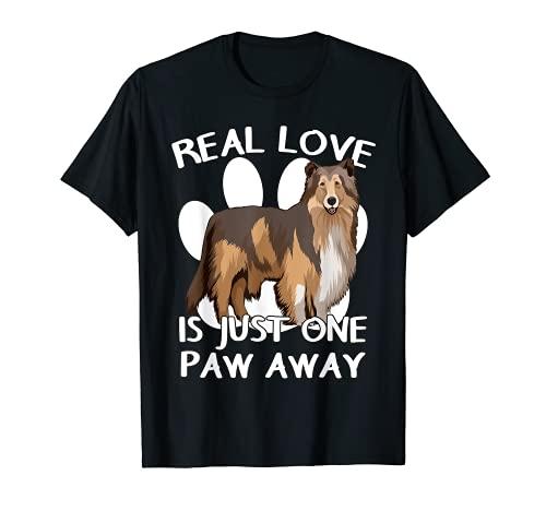 L'amour Véritable Collie Chien Patte Colley à poil long T-Shirt