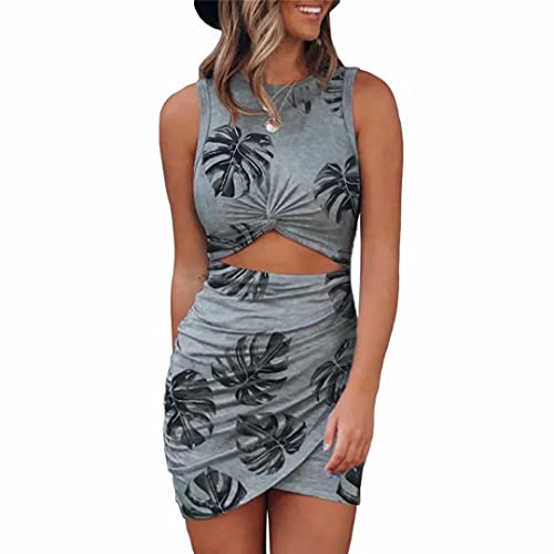 Vestidos Ajustados para Mujer Ahueca hacia Fuera el Mini Vestido sin Mangas de algodón con Envoltura giratoria para Banquetes, Clubes de Fiesta