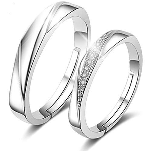 RLYKAL(ルリカル) ペアリング 指輪 カップル リング 結婚指輪 婚約指輪 オープンリング エンゲージリング フリーサイズ (シルバーライト, ペア フリーサイズ)