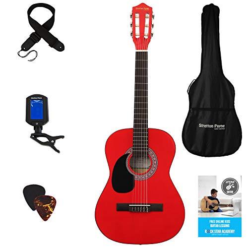 3/4 akoestische gitaar voor linkshandigen (36 inch) met nylon snaren voor kinderen. tre-quarti misura Rood