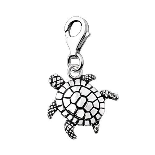 Quiges Charm Anhänger 3D Ozean Schildkröte 925 Silber mit Karabinerverschluss für Bettelarmband