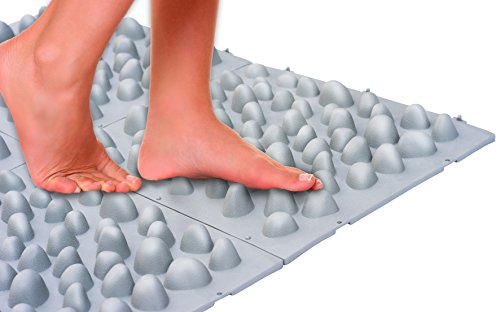 UPP Reflexzonen-Matte Stein | Gehwegplatten mit Natürlicher Fussmassage Funktion | Massage Matte für Bad, Balkon, Terrasse oder Garten [30 x 35 cm, 4 STK.]