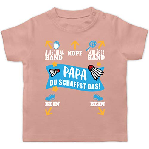 Sport Baby - Papa - Du schaffst das! - weiß/blau - 3/6 Monate - Babyrosa - Geschenk - BZ02 - Baby T-Shirt Kurzarm