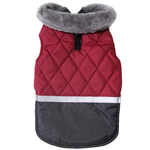 JoyDaog Fleecehalsband Wende Hundemäntel für kleine Hunde wasserdichte warme Welpenjacke für kalten Winter, rot XS