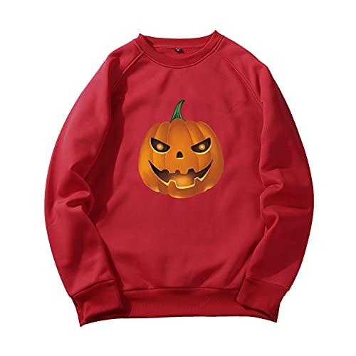 YingeFun Mens Graphics Hoodies Halloween Fleece Pullover Novelty Sport Sweatshirt Teen Plain Simple Tops Fall & Winter Red