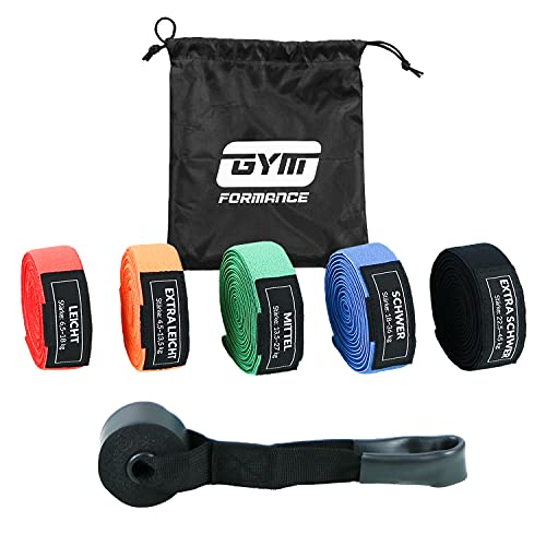 GYMFORMANCE Bandas de resistencia con anclaje para puerta y bolsa de almacenamiento – Bandas de fitness en 5 grosores diferentes – Bandas de resistencia Pull Up en set
