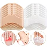 6 Pairs Silicone Forefoot Pad Metatarsal Pads Ball of Foot Cushions Support Soft Gel Foot Cushion for Reducing Forefoot Pain Callus Blisters, Skin and White