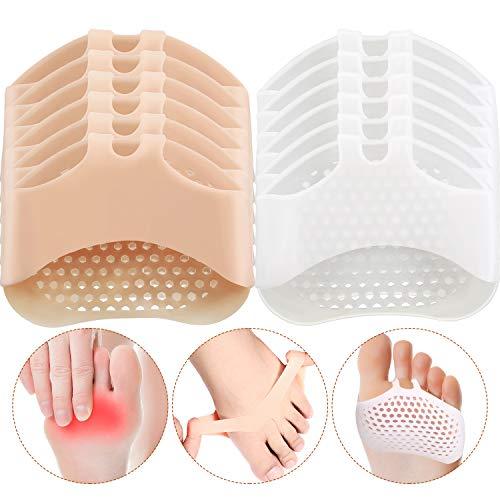 6 Paar Silikon Vorfuß Pad Mittelfuß Pads Fußballen Kissen Unterstützung weicher Gel Fuss Kissen zur Verringerung der Vorfuß Schmerzen Kallus Blasen, Haut und Weiß