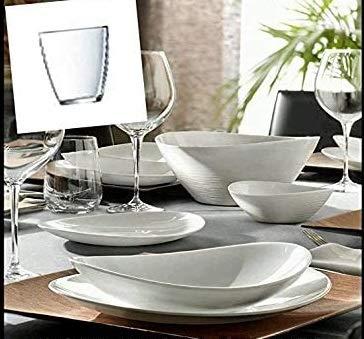 Pagano home Servizio piatti Bormioli Prometeo per 12 persone con insalatiera e 12 bicchieri omaggio totale 49 pezzi
