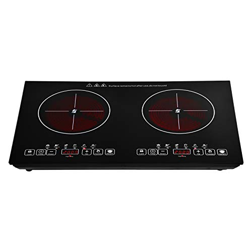 Placa vitrocerámica, 2 zonas de cocción Placa eléctrica, negra Placa de cocción...