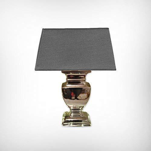 DRULINE Tischlampe Tischleuchte Keramiklampe 43 cm - Fuß: Silber - Schirm: Grau
