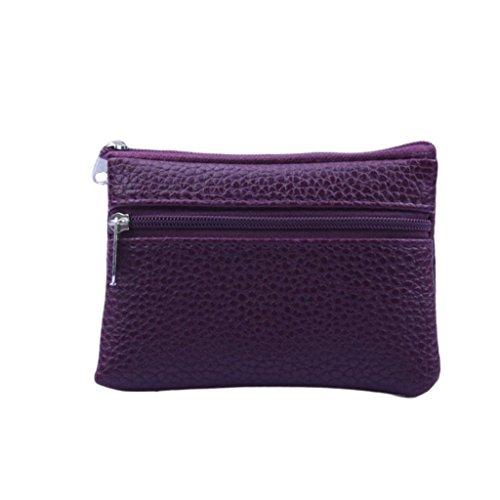 Rovinci Unisex Einfache Mode Handtasche Lange Brieftasche Geldbörse Kartenhalter Große Kapazität Geldbeutel Portemonnaie Portmonee Täschchen Tasche mit Doppel Reißverschluss (Lila)