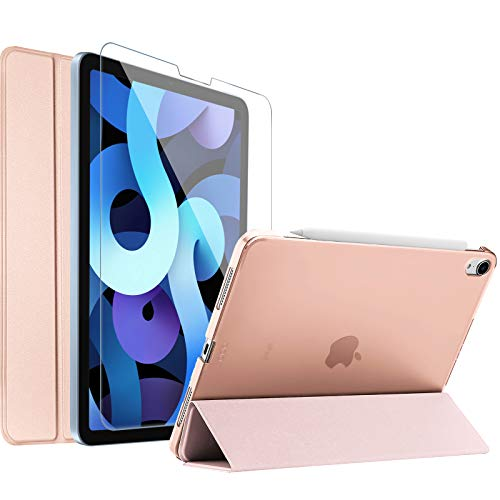 ProCase iPad Air 4 Case 10.9 Inch 2020 with Tempered Glass Screen Protector, Slim Stand Hard Shell Protective Smart Cover for iPad Air 4th Generation 10.9' 2020 (A2316 A2324 A2325 A2072) -Rosegold