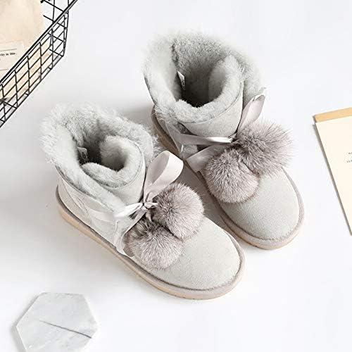 HOESCZS Bottes Martin Nouveau Hiver Bottes De Neige en Cuir Femmes épaissies dans Le Tube Imperméable à l'eau Chaude Grande Taille Coton Chaussures
