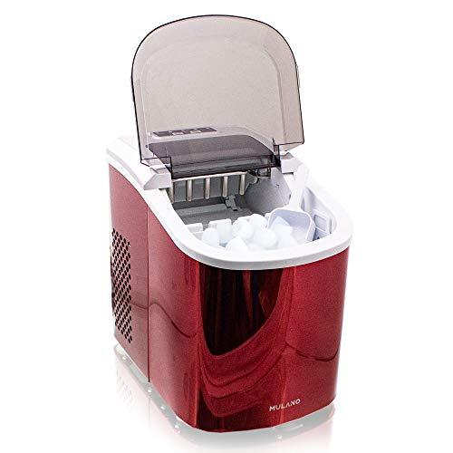 Eiswürfelmaschine Edelstahl Eiswürfelbereiter Eiswürfel Ice Maker Eis Maschine Icemaker (Rot)