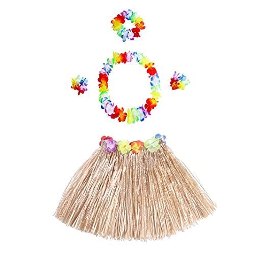 Hawaiian Hula Falda De Hierba con La Flor Leis, 5pcs / Set Traje Hawaiano Conjunto Elástico Luau Hawaiano Hierba Y Accesorios De La Flor para La Fiesta (Paja De Color)