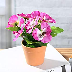 Casa perfecta Artificial Simulation Pansy Bonsai Artificial Silk Flower Creative Simulation Plant Potted Home Living Room Decoration Creative Ornaments
