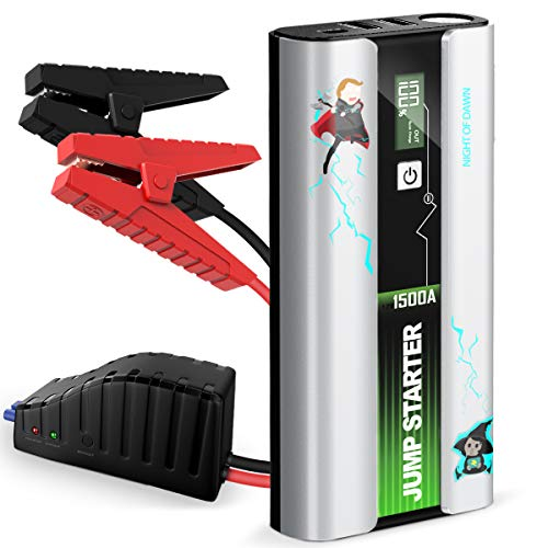 LIMIKNK Car Jump Starter, 1500A Peak 18000mAh 12V Portable Compact Auto Battery Booster (up to 7.0L Gas / 5.5L Diesel Engines) with USB QC 3.0 & LED Flashlight - Night of Dawn