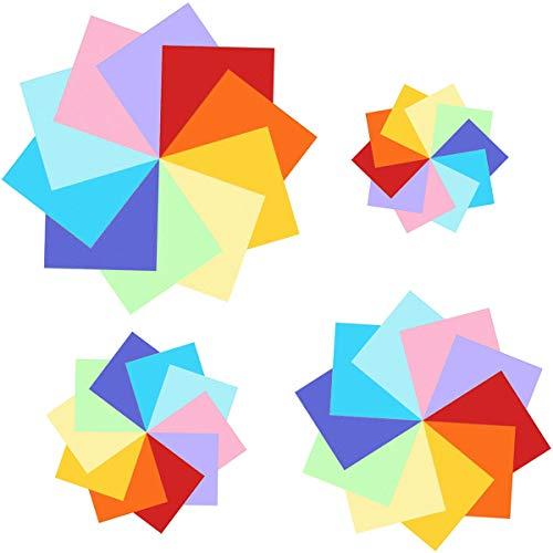 400 fogli colorati double face, carta per origami in 10 colori vivaci assortiti, 4 misure - 100 fogli da 20x20cm 15x15 cm 10x10 cm 7,5x7,5 cm + 100 occhietti
