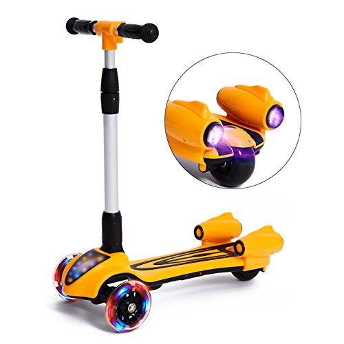 MammyGol Scooters for Kids 3 Wheel Kick Scooter,Folding LED Spray Jet Scooter with Adjustable Height,Flashing PU Wheels and Lean to Steer,Best Gifts for Children Age 3-8 Years Old Orange
