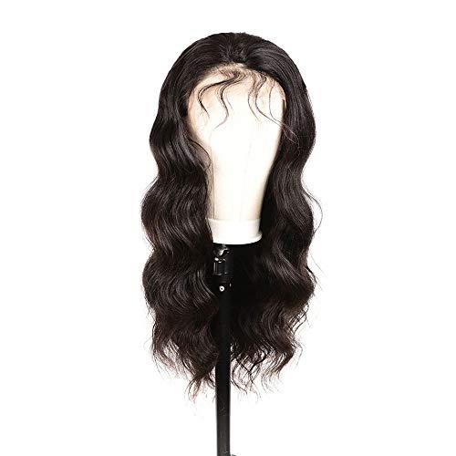 WHSS Peluca de pelo largo rizado medio tejido a mano, color natural, peluca de realidad (24 pulgadas)
