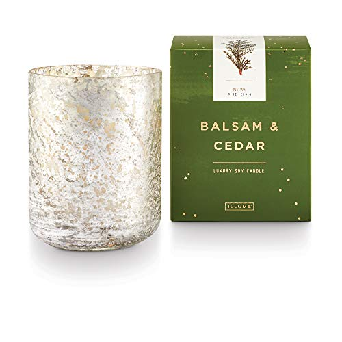 Illume Noble Holiday Collection Balsam & Cedar Small Luxe Box Sanded Mercury Glass, 9 oz Candle, Demi, 9 Ounce