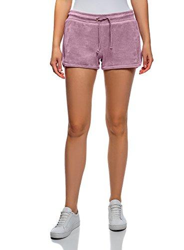 oodji Ultra Damen Shorts aus Samtigem Stoff mit Bindebändern, Rosa, Herstellergröße DE 40 / EU 42 / L