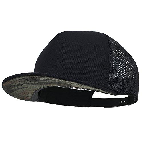 ililily Extragröße kräftige Farbe New Era Style Snapback Baseball Cap (X-Large, Black&Camo)