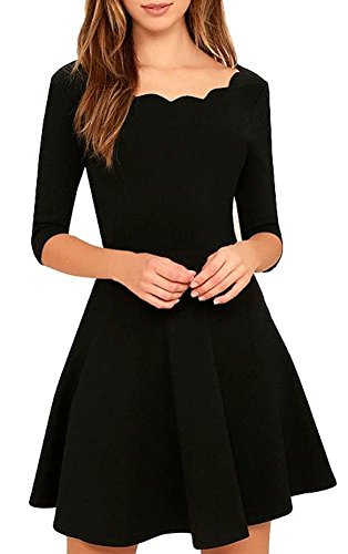Womens Cute Scallops Neckline Thick Soft Half Sleeves Stretch Little Black Dresses(Black,US S)