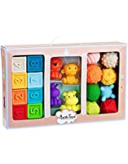 Textured Balls Baby - Stacking Toys Set, Motor Skills Toys, Tactile Sensory Toys Toddlers, Ball Bath Toys, Textured Balls for Infant Kids Boys Girls from 6M + Squeaky Pack of 20 (Pack of 20)