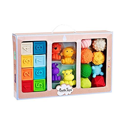 Montessori Spielzeug Baby - Babybälle Kinderball Weich, Stapelwürfel Kind, Weiche Bausteine Baby, Farben Lernen Sortieren für Kinder ab 6 Monate 1 2 3 Jahre mit Quietschen