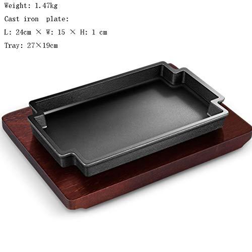 Rechteckige Steak-Grillpfanne aus Gusseisen und Holzsockel für die Versorgung von Restaurants Home Kitchen Cooking Zubehör Ideal für das Grillen von Fleisch und Meeresfrüchten in der Pfanne 2er-Set