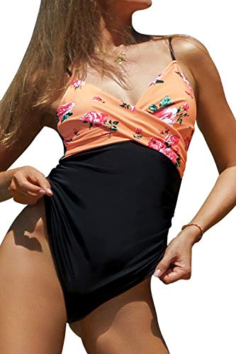 CUPSHE Women's Rose Twist Front Adjustable Straps One Piece Swimsuit, L