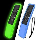 NANTING 2 PCS Funda protectora para control remoto de Smart TV serie Samsung BN59, Ligero,adecuado para fundas de silicona para niños,correa antideslizante a prueba de golpes y antipérdida(Azul+Verde)