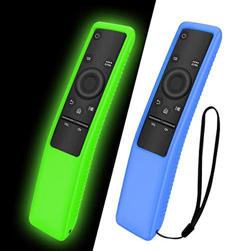 NANTING Custodia protettiva in silicone 2PCS per telecomando Samsung Smart TV serie BN59,adatto per custodia in silicone per bambini,cinturino antiscivolo antiurto e anti-smarrimento(Blu+Verde)