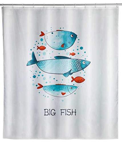 WENKO Duschvorhang Big Fish - Textil , waschbar, wasserabweisend, mit 12 Duschvorhangringen, Polyester, 180 x 200 cm, Mehrfarbig