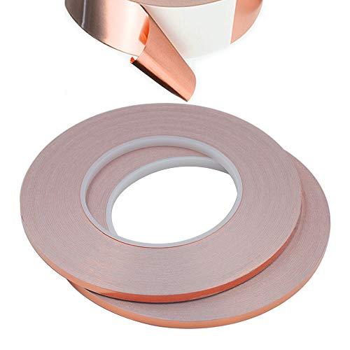 Senven Cinta Adhesiva primera calidad cobre - Conductor - (50m × 5 mm) × 2 - Blindaje EMI y RF, circuitos papel, soldadura, reparaciones eléctricas, Repelente de babosas - Paquete de 2